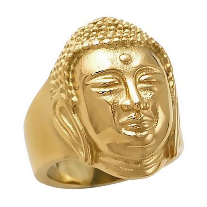 BA0230 BOBIJOO Jewelry Bague Bouddha Paix Acier Or Chevalière
