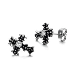 BOF0088 BOBIJOO JEWELRY Earrings Cross Steel Zirconium Gothic Dark