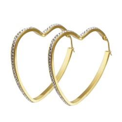 BOF0091 BOBIJOO JEWELRY Aretes pendientes de aro de Corazón de diamante de imitación de Acero de Oro