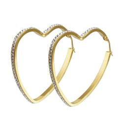 BOF0091 BOBIJOO JEWELRY Earrings hoop earrings Heart Rhinestone Steel Gold