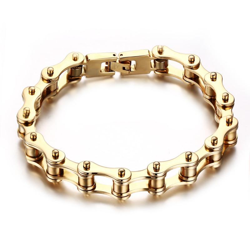 BR0252 BOBIJOO Jewelry Bracelet Biker Chaine de Moto Acier Finition Or