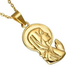 PEF0039 BOBIJOO Jewelry Colgante De La Virgen María Milagrosa Envuelta De Acero De Oro + Cadena