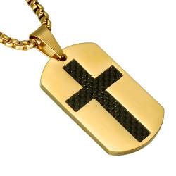 PE0092 BOBIJOO Jewelry Medallion Steel Gold Cross carbon Chain Pendant