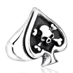 BA0165 BOBIJOO Jewelry Chevalière Bague Poker As de Pique Tête de Mort Biker