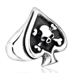 BA0165 BOBIJOO Jewelry Siegelring Ring Poker-Pik As totenkopf Biker