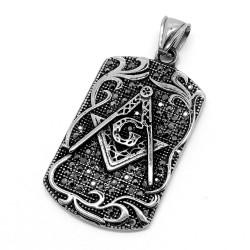 PE0084 BOBIJOO Jewelry Médaillon Franc-Maçonnerie Strass Noirs Acier