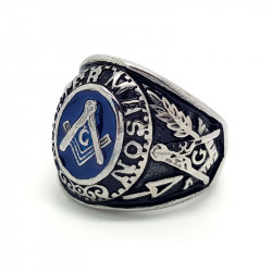 BA0018 BOBIJOO Jewelry Signet Ring Freemasonry Master, Masonic Ring Silver And Onyx Black Steel