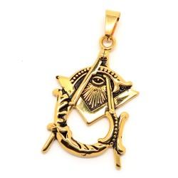 PE0108 BOBIJOO Jewelry Medaglione Ciondolo Massoneria Master Acciaio Oro
