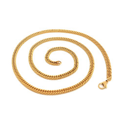 PE0116 BOBIJOO Jewelry Chain Mesh Curb chain 60cm 4mm Stainless Steel Gold