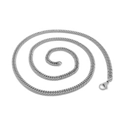 PE0117 BOBIJOO Jewelry Chain Mesh Curb chain 60cm 4mm Stainless Steel