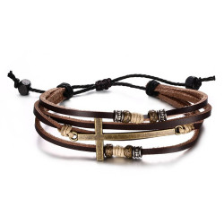 BR0253 BOBIJOO Jewelry Bracelet Mixed Brown Leather Charms Cross Latin